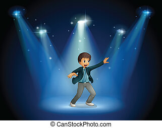 Illustration of a stage with a boy dancing at the center