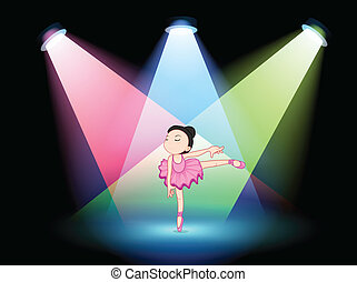 A stage with a cute ballerina in the middle