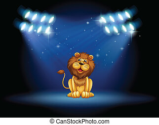 A stage with a lion at the center