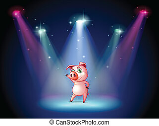Illustration of a stage with a pig at the center
