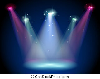 A stage with colorful spotlights