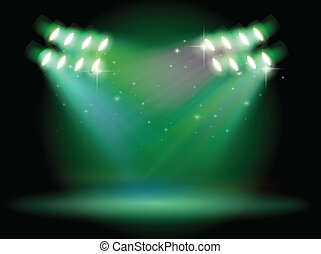 A stage with spotlights