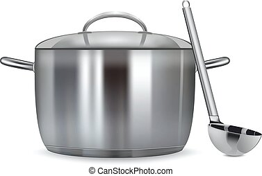 A stainless pan isolated on a white background Vector illustration