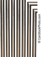 A stainless steel tubes on white background