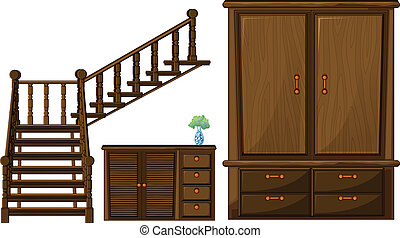 A stair and wooden furnitures - Illustration of a stair and...