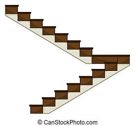 A staircase - Illustration of a staircase on a white...