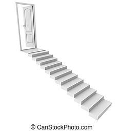 A staircase leads to the door