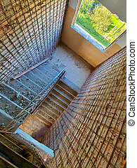 a stairs in the old building