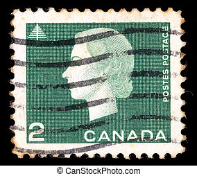 A stamp printed by Canada, shows Queen Elizabeth II - CANADA...