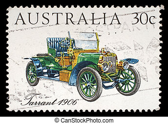 A stamp printed in Australia shows the Tarrant Car (1906), Australian-made vintage cars series