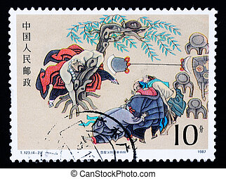 A stamp printed in China shows ancient story of The Water Margin, circa 1987