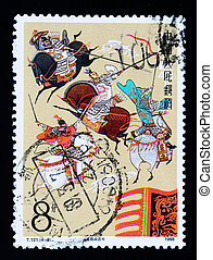 A stamp printed in China shows the story of Three Countries
