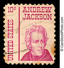 A stamp printed in the United States of America shows Andrew...