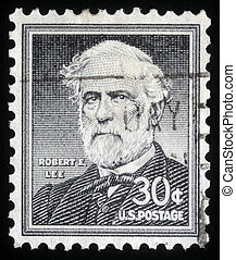 A stamp printed in the United States of America shows Robert E. Lee, commander of the Confederate Army of Northern Virginia in the American Civil War, circa 1954