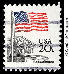 A stamp printed in the USA shows Flag Over Supreme Court...