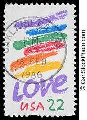 Love - A stamp printed in USA shows image of the dedicated...