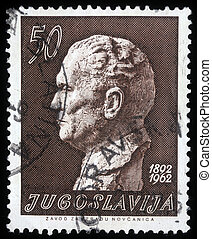 Josip Broz Tito - A stamp printed in Yugoslavia, is depicted...
