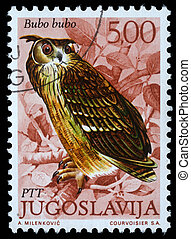 European Eagle Owl - A stamp printed in Yugoslavia shows the...