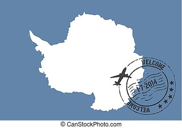 Stamped Illustration of the flag of Antartica - A Stamped...