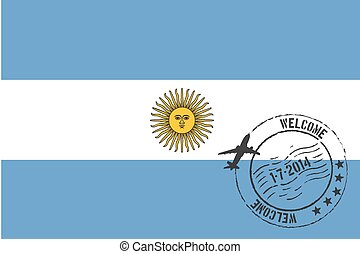 Stamped Illustration of the flag of Argentina
