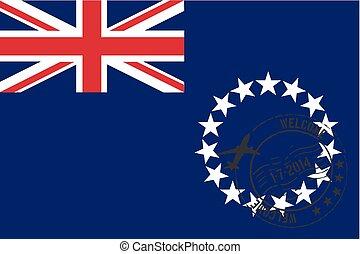 Stamped Illustration of the flag of Cook Islands