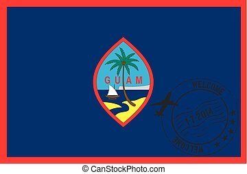 Stamped Illustration of the flag of Guam