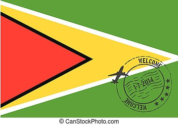 Stamped Illustration of the flag of Guyana