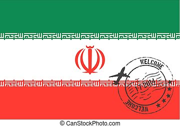 Stamped Illustration of the flag of Iran