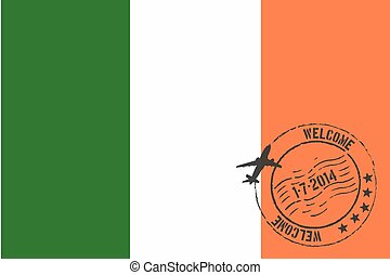 Stamped Illustration of the flag of Ireland