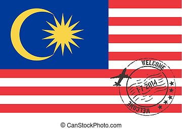 Stamped Illustration of the flag of Malaysia