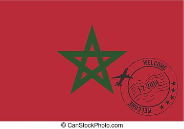 Stamped Illustration of the flag of Morocco