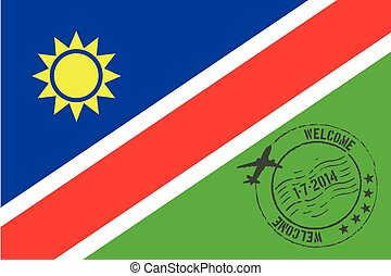 A Stamped Illustration of the flag of Namibia