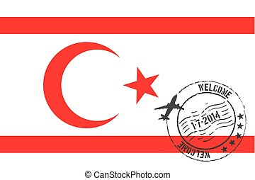 Stamped Illustration of the flag of Northern Cyprus