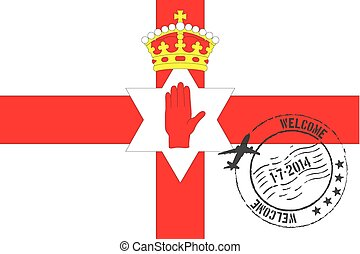 Stamped Illustration of the flag of Northern Ireland