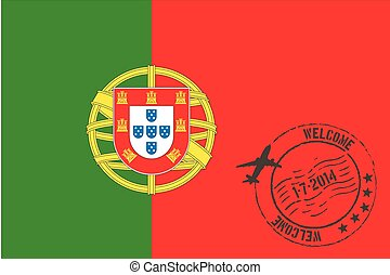 Stamped Illustration of the flag of Portugal