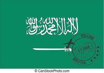Stamped Illustration of the flag of Saudi Arabia