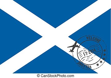 Stamped Illustration of the flag of Scotland