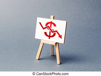 A stand with a canvas and a red dollar arrow down. The concept of falling rates and indicators of the economy or production. low prices and falling demand, recession. The bad situation in the markets