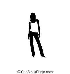 a standing woman is in a sport shirt. Vector illustration