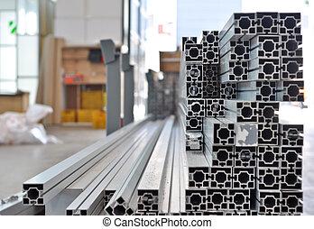 a, stapel, von, aluminium, strukturell, profile