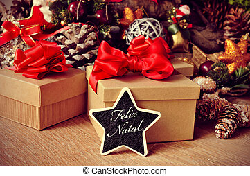 feliz natal, merry christmas in portuguese - a star-shaped...