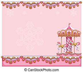 A stationery template with a merry-go-round ride -...