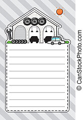 A stationery with a garage