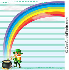 A stationery with a rainbow and an old man