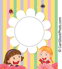 A stationery with two girls at the garden