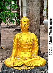 statue in thai temple - a statue in thai temple
