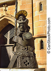 A statue nearby Church of Saint Kilian in Heilbronn, Germany