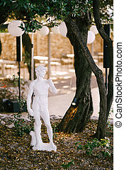 A statue of David in the garden by a tree on the ground with fallen yellow leaves.