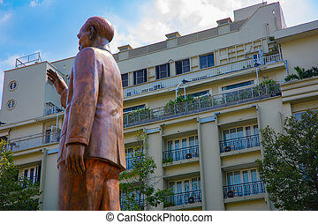 A statue of Ho Chi Minh at Guyen hue street in Ho Chi Minh City