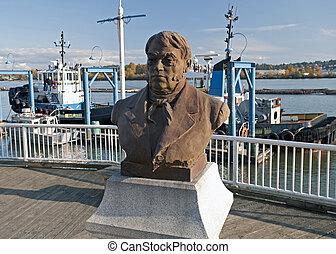 A statue of Simon Fraser - Fraser River in New Westmenster...